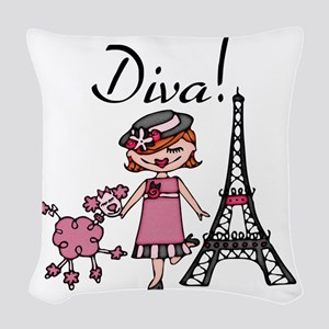 Red Haired Diva Woven Throw Pillow