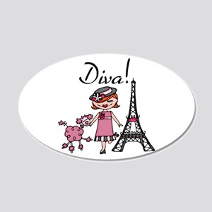 Red Haired Diva 20x12 Oval Wall Decal