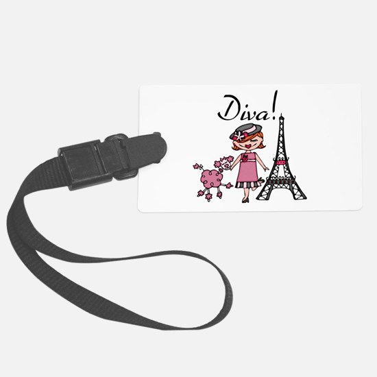 Red Haired Diva Large Luggage Tag