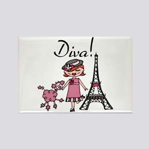 Red Haired Diva Rectangle Magnet