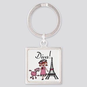 Red Haired Diva Square Keychain