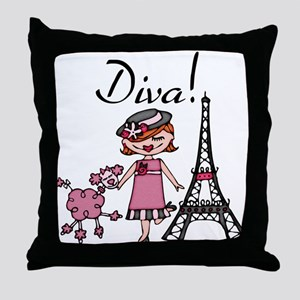 Red Haired Diva Throw Pillow