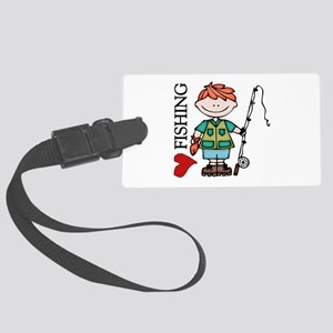 Redhead Boy Love Fishing Large Luggage Tag