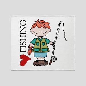 Redhead Boy Love Fishing Throw Blanket