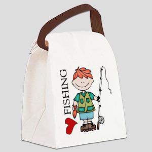 Redhead Boy Love Fishing Canvas Lunch Bag