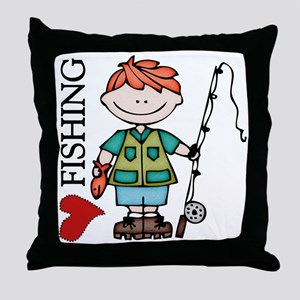 Redhead Boy Love Fishing Throw Pillow
