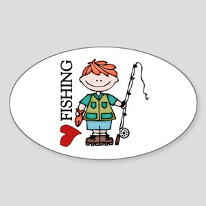 Redhead Boy Love Fishing Sticker (Oval)