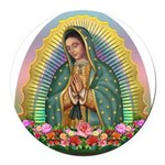 Guadalupe Yellow Aura Round Car Magnet