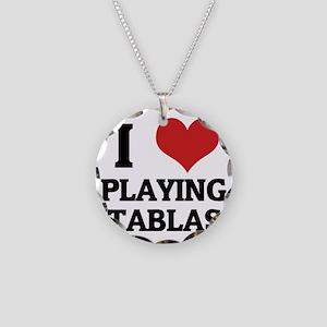 PLAYING TABLAS Necklace Circle Charm