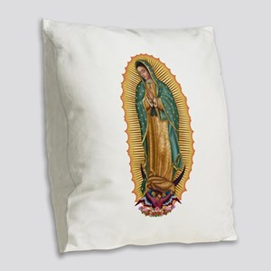 La Guadalupana Burlap Throw Pillow