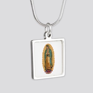 La Guadalupana Silver Square Necklace