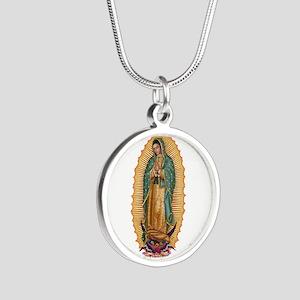 La Guadalupana Silver Round Necklace