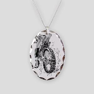 Motor Cross Necklace Oval Charm