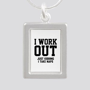 I Work Out Silver Portrait Necklace