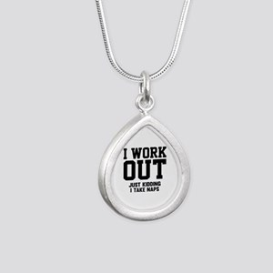 I Work Out Silver Teardrop Necklace