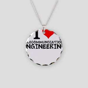 I Love Telecommunications Engineering Necklace