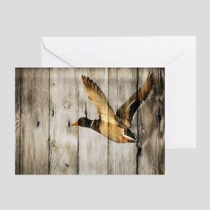 barnwood wild duck Greeting Cards