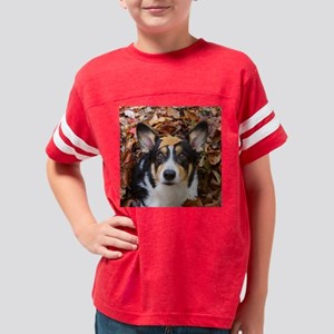 Corgi and Fall Leaves Youth Football Shirt