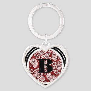 Red Paisley Monogram-B Heart Keychain