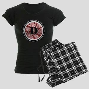 Red Paisley Monogram-D Women's Dark Pajamas