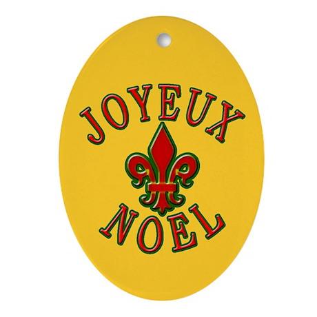 Joyeux Noel Fleur de Lis Holiday Ornament