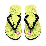 Pink Floral Swirls on Soft Yellow Flip Flops