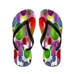 Rainbow of 3D Shapes Flip Flops