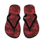 Red and Black Snakeskin Flip Flops