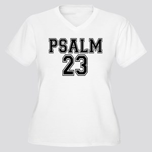 Psalm 23 Bible Verse Women's Plus Size V-Neck T-Sh
