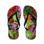 Red Orange and Yellow Floral Bouquet Flip Flops