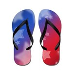 Red White and Blue Patriotic Stars Flip Flops