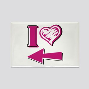 I heart - Pink Arrow Rectangle Magnet