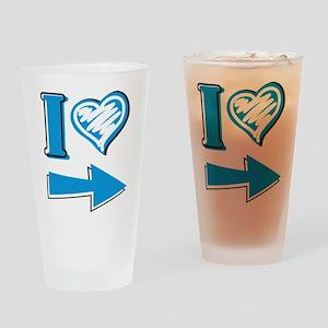 I Heart - Blue Arrow Drinking Glass