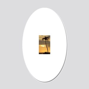 Lone Palm Sunset 20x12 Oval Wall Decal