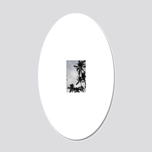 Palm Trees Silouette 20x12 Oval Wall Decal