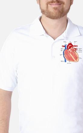 Human Heart Anatomy Golf Shirt