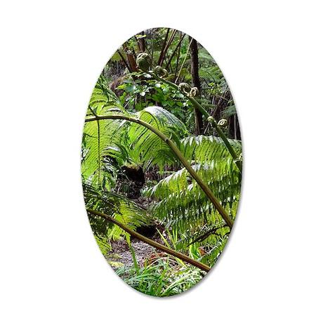 Rainforest Ferns 35x21 Oval Wall Decal