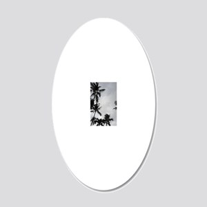 Palm Trees Silhouette 20x12 Oval Wall Decal