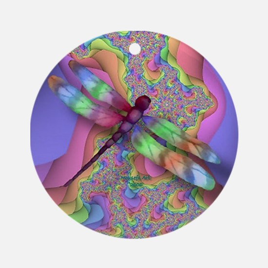 Dragonfly Art Ornament (Design 11) (Round)