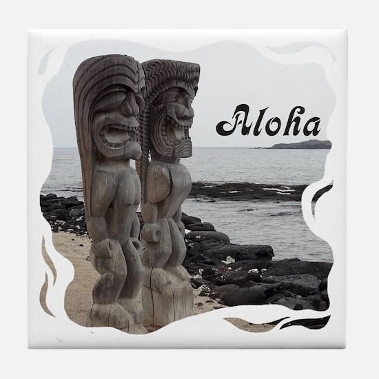 Place of Refuge Tikis Aloha Tile Coaster