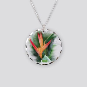 Bird of Paradise Necklace Circle Charm