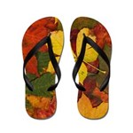 Walking on Soft Colorful Fall Leaves Flip Flops