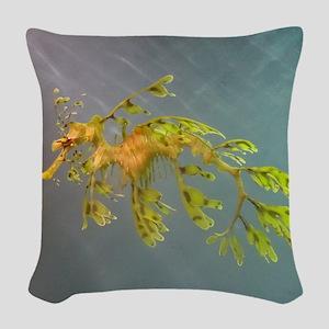 Leafy Seadragon Woven Throw Pillow