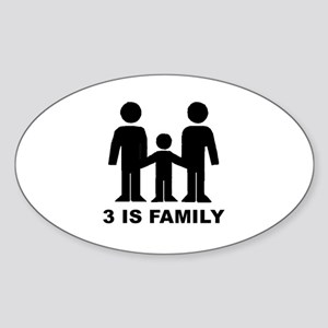 3 is family (first baby) Oval Sticker