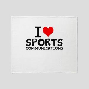 I Love Sports Communications Throw Blanket