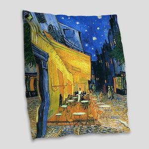 Van Gogh CafeTerrace at Night Burlap Throw Pillow