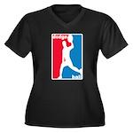 Dodgeball Association Women's Plus Size V-Neck Dar