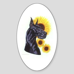 C Blk Sunflower Oval Sticker