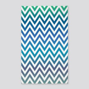 Blue and Green ZigZag Area Rug