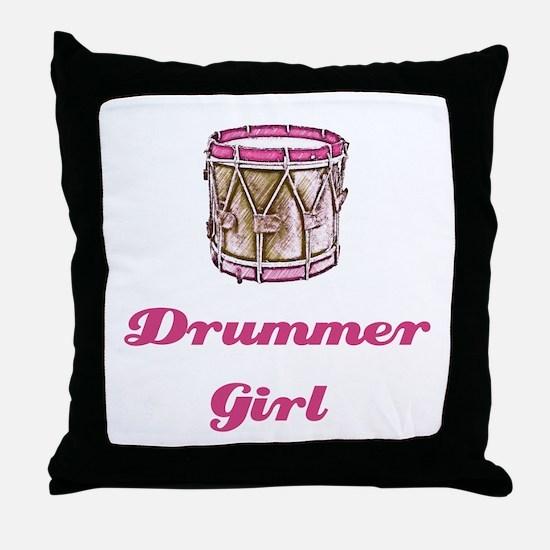 Drummer Girl Throw Pillow